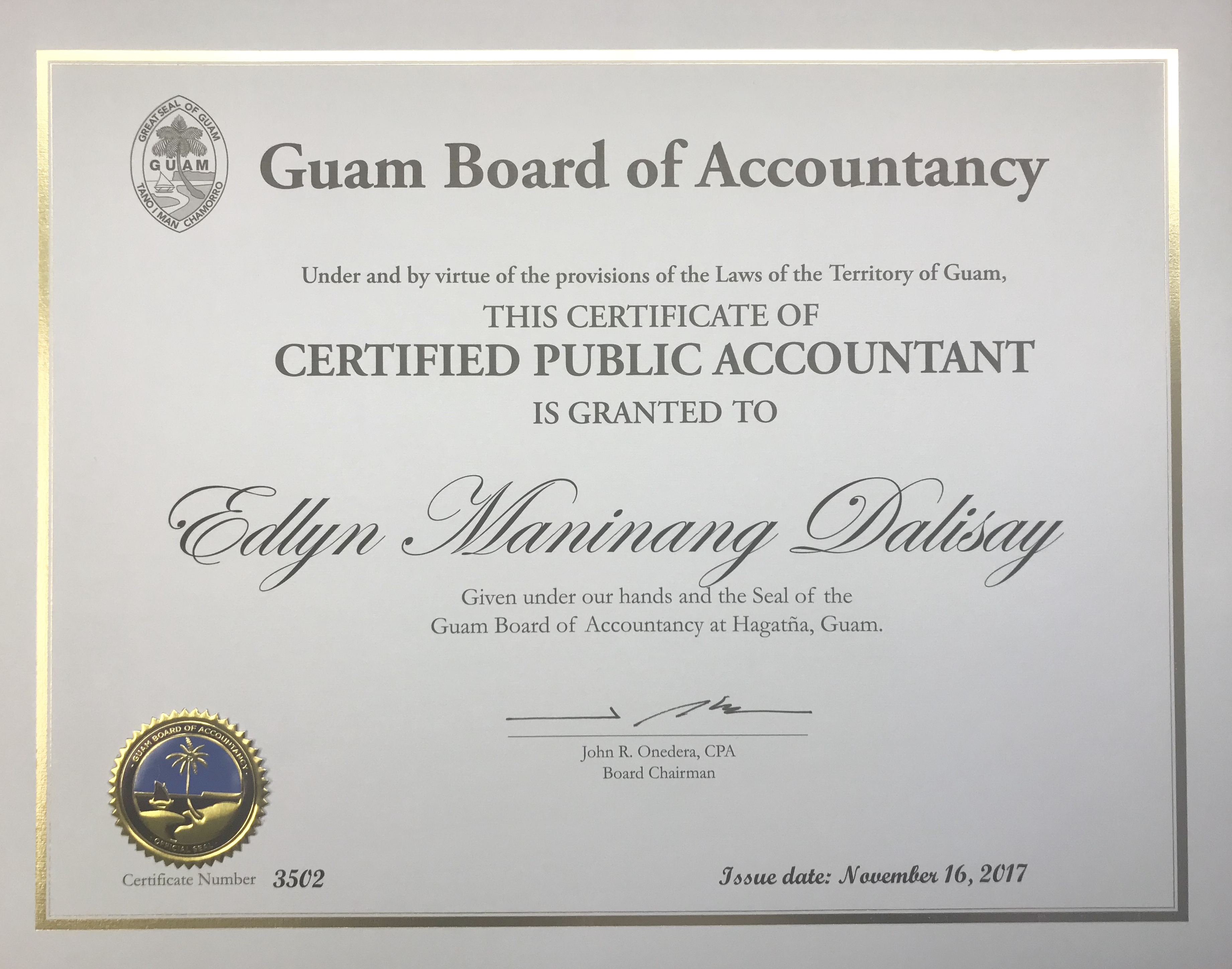 Announcements office of public accountability opa guam opa auditor receives cpa designation 1betcityfo Choice Image